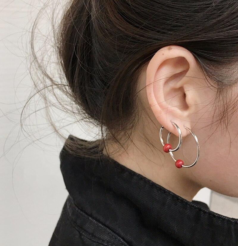 Kpop home New Bigbang GD Same earrings ear stud Titanium steel silver high quality Man and Womens sexy Red bean Ear ring