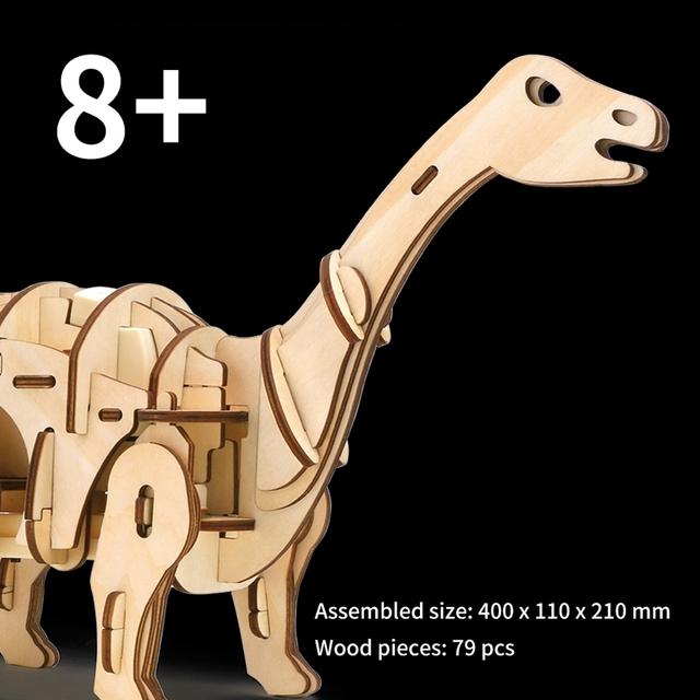 Puzzle Interactif Dinosaure Apatosaurus 3D DIYEn Bois Jouet pour Enfants et Adultes