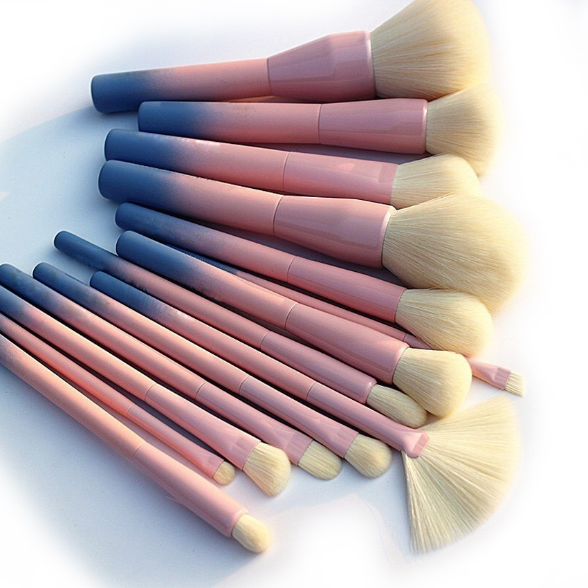 2017 Gradient Color Pro 14pcs Makeup Brushes Set Cosmetic Powder Foundation Eyeshadow Eyeliner Brush Kits Make Up Brush Tool 10pcs tooth brush shape oval makeup brush set multipurpose makeup brushes professional foundation powder brush kits make up tool