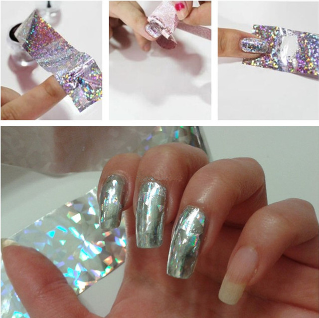 Fashion holographic nail foil transfer stickers 4cm100cm silver fashion holographic nail foil transfer stickers 4cm100cm silver diamond nail art foils adhesive stick prinsesfo Images
