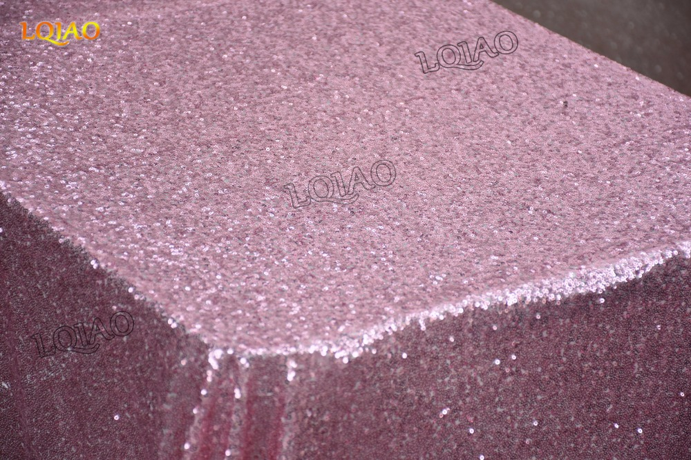 Pink Gold Rectangle Sequin Tablecloth-023