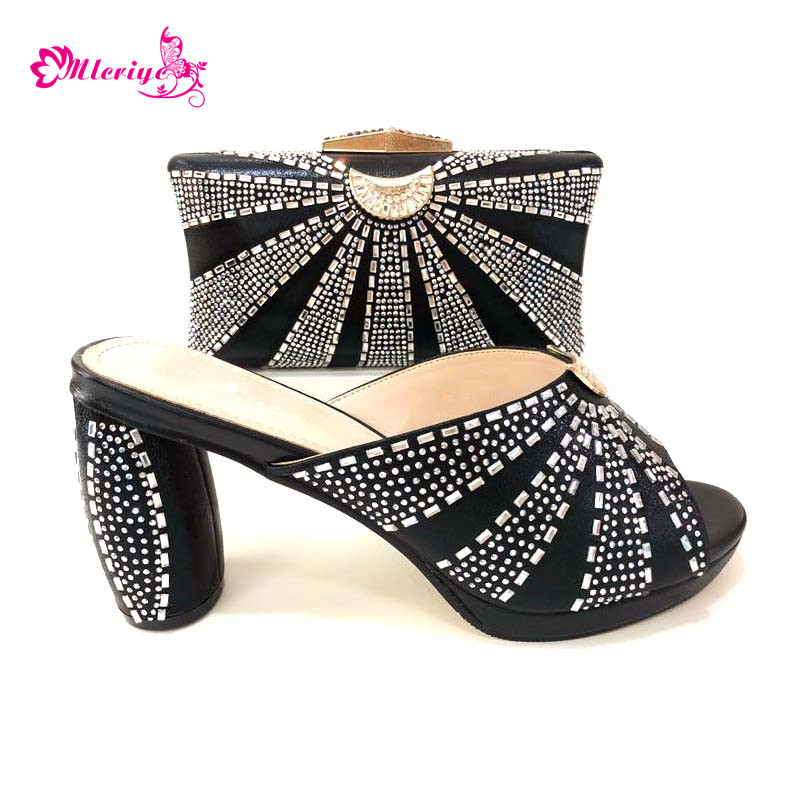 New Fashion African Matching Shoes and Bags Italian In Women Shoes and Bags Set for Party Wedding Women Shoe and Bag Sets new fashion italian shoes with matching bags for party black color african shoes and bags set for wedding 10 cm shoe and bag set page 3