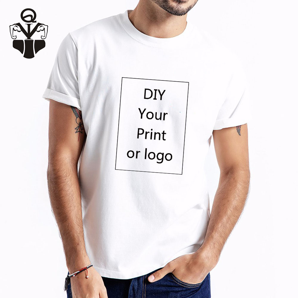 QIM Customized Print T-Shirt For Men Print DIY Your Like Photo Or Logo 5 Color Top Tees T-shirt Men's Plug Size Fashion T-Shirt