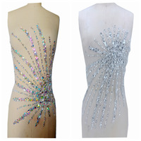 hand made clear AB colour sew on Rhinestones applique crystals trim patches 41*39cm dress accessory