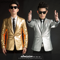 Gold Blazer For Men Gold Silver Leather Blazer 2015 New Costumes Club Singer Stage PU Leather Silver Gold Jacket Blazer Men