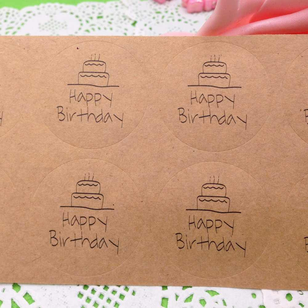 "100 Pçs/lote 3.5x3.5 cm Etiquetas Da Etiqueta Impressa acima ""feliz aniversário"" Etiquetas da Etiqueta Adesiva Adesivos DIY Para presente//Caixa de presente/envelope"