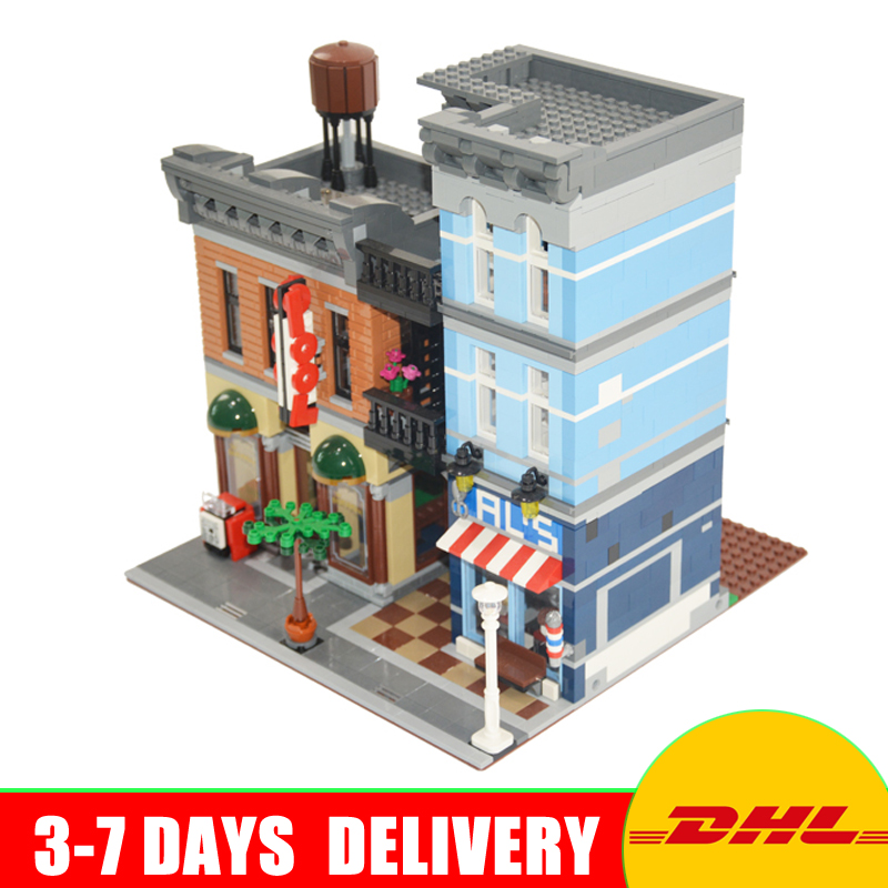 DHL Free 2017 Lepin 15011 City Street Detective's Office House Model Building Blocks Set Bricks Clone 10246 More Stock dhl more stock 2705pcs lepin 15013 city street carousel model building blocks bricks intelligence toys compatible with 10196