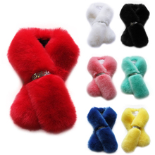 fur scarf women winter accessories warm collar long women scarf imitation fur wraps more colors DM#