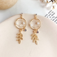 Fashion Gold Rhinestone Leaves Circle Fringed Hollow Pearl Woven Earrings Ear Accessories for Women Party Travel