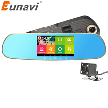 2018 Dashcam Eunavi 5 Inch Ips Car Gps Navigation Dvr Rearview Mirror Android 4.4 Dual Camera Truck Vehicle Navigator Europe
