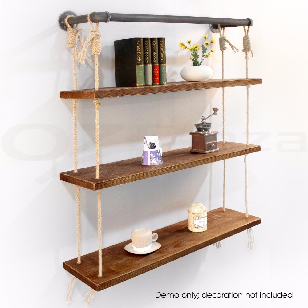 Industrial Rustic Urban Iron Pipecotton Wall Mounted Shelf 3 Layers Wooden Board Shelving Home Restaurant Bar Shop Decor Storage