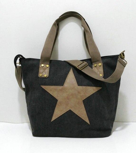 BIG STAR STUDDED GLITTER CANVAS HANDBAG - Multifunctional Travel Tote Shoulder Bag 4