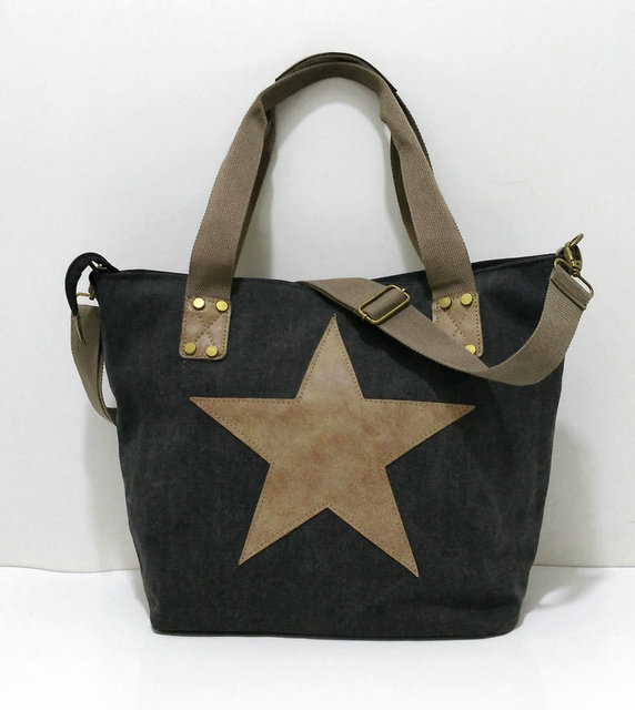 Glitter Diamonds Star Travel Tote Canvas Shoulder Bag