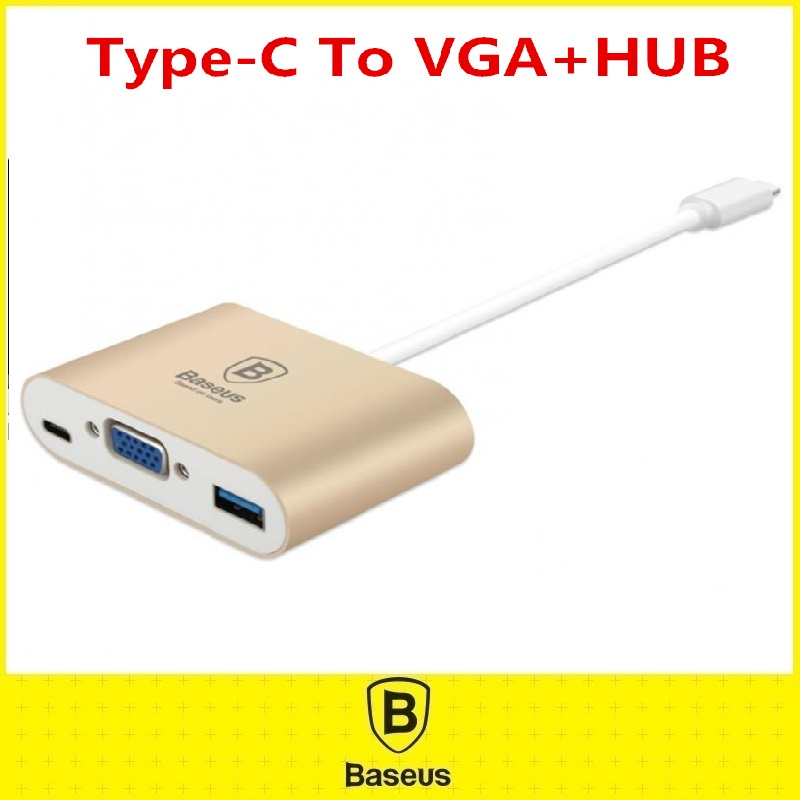 Original Baseus Type-C To HDMI VGA HUB OTG Adapter Aluminum Alloy USB Date Type C Cable For TV Game BoxComputer 3 in 1 Converter