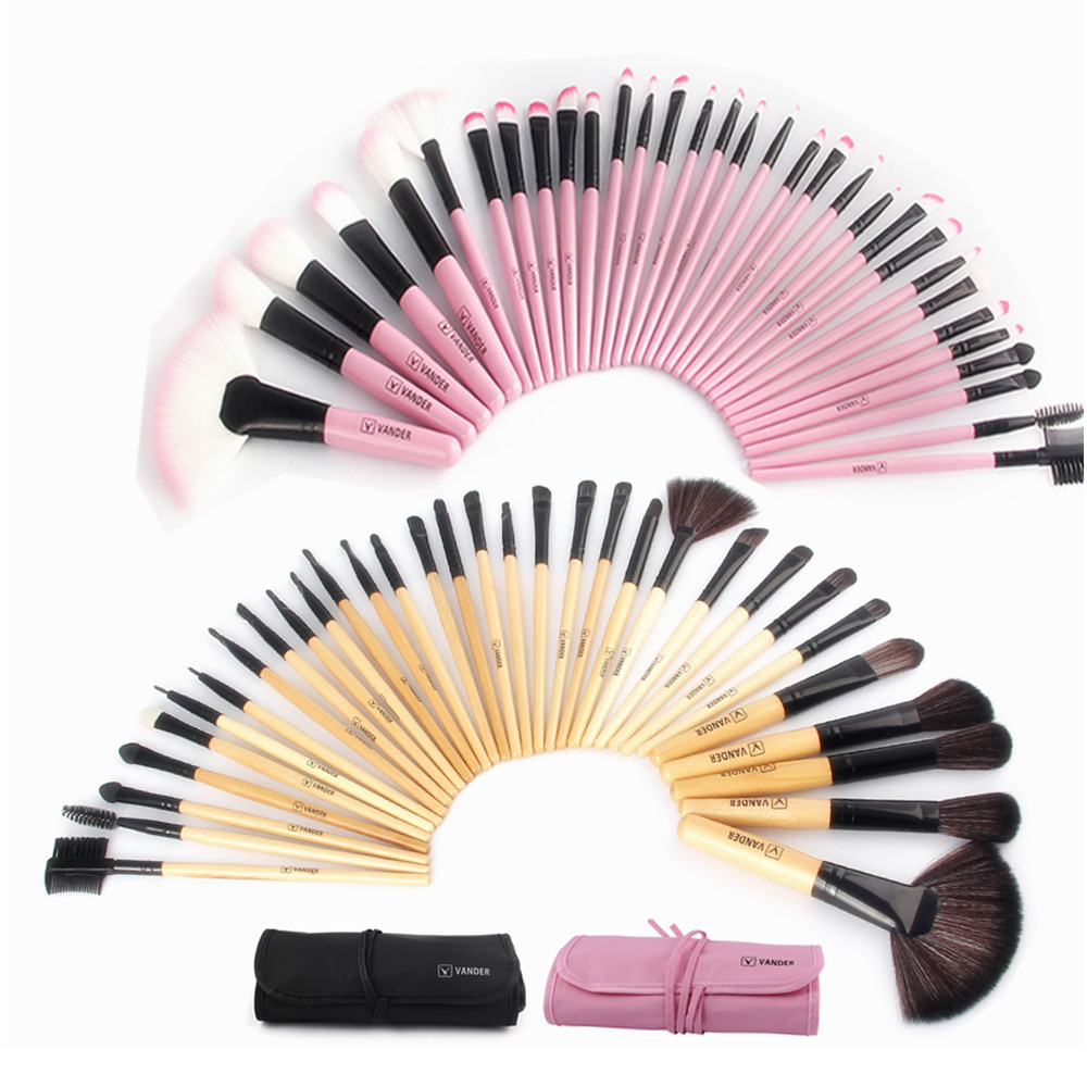Woman's Pro 32 Pcs Make Up Tools Pincel Maquiagem Lipstick Foundation Cream Cosmetic Beauty Makeup Brushes Set Kit + Pouch Bag professional beauty 22 24 32 pcs make up tools pincel maleta de maquiagem cosmetic blush contour makeup brush set kit bag