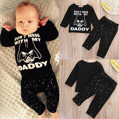 new arrival b9e91 bd215 US $5.44 10% OFF|Pudcoco Autumn Baby Boys Girl Star Wars Clothes Tops T  shirt Print Long Sleeve+Long Pants Cotton Newborn Outfit Set 2pcs-in  Clothing ...