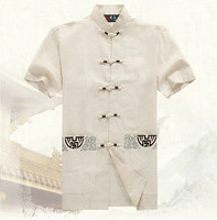 Hot Sale Hombre Camisa Beige Men S Cotton Shirt Now Summer Kung Fu Short Sleeve Tang
