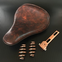1set For Harley Custom Chopper Bobber Saddle Seat Motorcycle Retro Brown Leather Solo Seat With Black 3 Spring Swivel Bracket