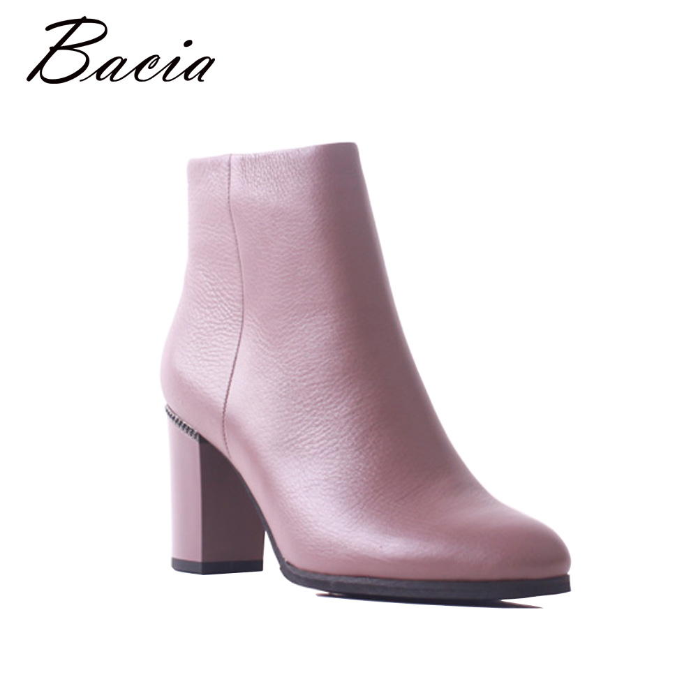 Bacia Women High Square Heels Ankle Boots Genuine Leather Shoes Warm Short Plush Autumn Winter Fashion Elegent FemaleBotas MB037 bacia women high heels ankle boots genuine leather shoes warm short plush inside autumn fashion pure black botas mc023