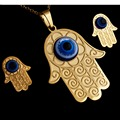 "Hot Sale Gold Plated Vintage Arab death Evil Eyes & Hamsa Hand necklace &earring,stainless steel jewelry set , 20""Gold Chain"