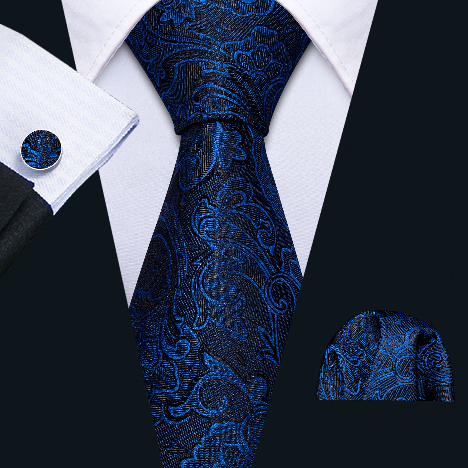 2019 Men Wedding Tie Blue Foral Silk Tie Hanky Set Barry.Wang 8.5cm Fashion Designer NeckTies For Men Party Dropshipping FA-5143