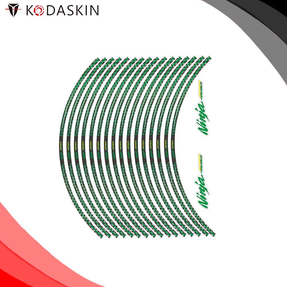 KODASKIN Motorcycle 2D Emblem Round Sticker Decal Big Wheel Rim For Kawasaki Ninja 400 Ringshot