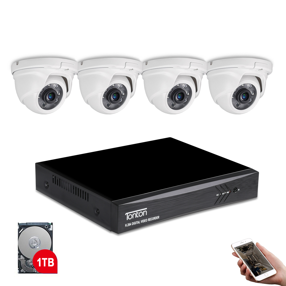 Tonton 8CH 1080P Camera DVR Kit CCTV Camera System Dome 2MP Outdoor security camera Night Vision CCTV Surveillance kit 1TB HDD цена