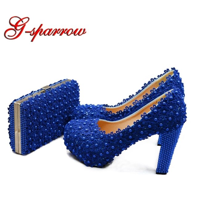 11fb7eed6a4 Blue Lace Bride Shoes Thick High Heel Wedding Dress Shoes with Matching Bag  Cutomized Royal Birthday Ceremony Pumps with Purse. Anniversary Sale ...
