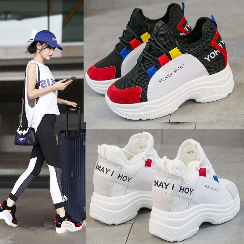 Dumoo 2018 Autumn Sneakers Women Lady Casual White Shoes Mixed Colors Leisure Platform Wedges Height Increase Heel 7cm Shoes цена