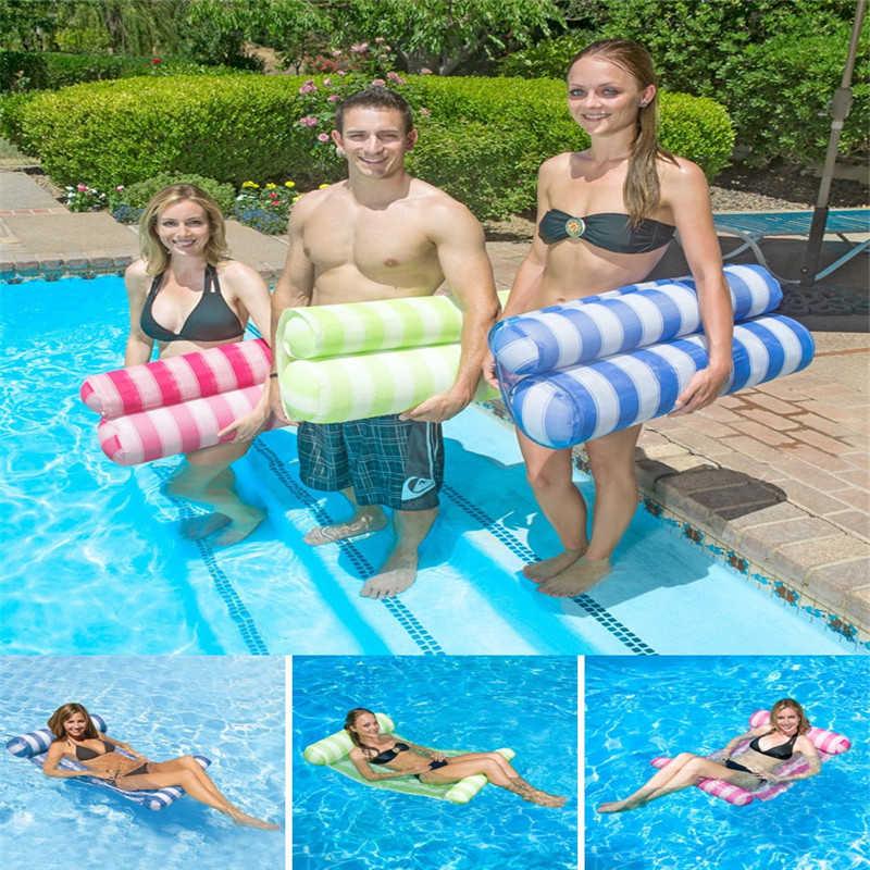Adulto Piscina Flutuante Água Cama Flutuante Prémio Rede Cadeira de Salão Stripe Praia Colchão de Ar Inflável Nadar Equipamentos