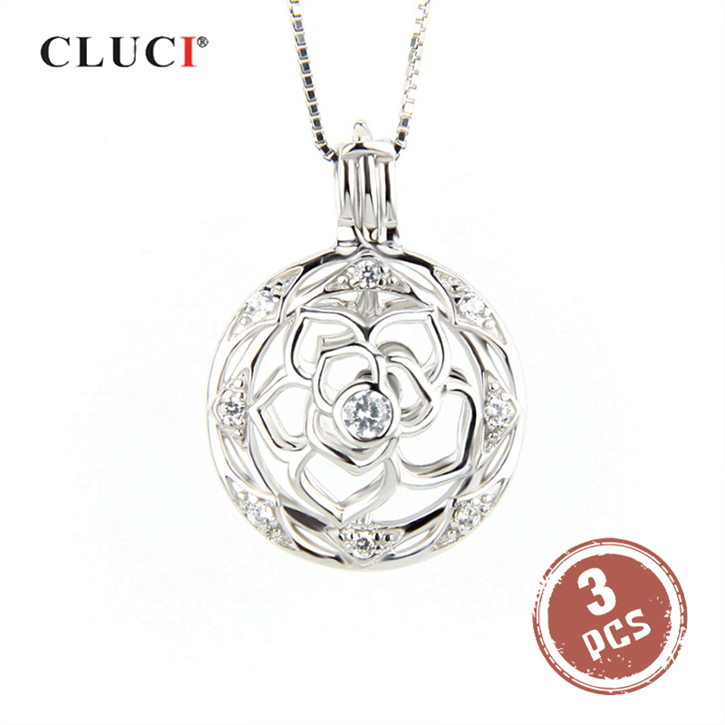CLUCI 3pcs Flower Ball Shaped Silver 925 Pearl Locket Women 925 Sterling Silver Fine Jewelry Pendant For Necklace