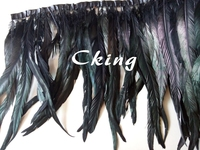 Free shipping new design 5 Yard Black Rooster Coque Tail Fringes 35 40cm Sewing on Rooster feather trimming/ribbon 19 colors