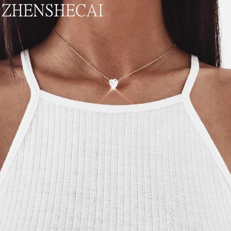 Fashion Jewelry Super Shinning Choker Necklace gold color Women Heart Crystal pendant Necklace female wedding party gift x41