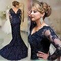 Azul Marinho Mãe do Laço do vintage do Vestido Da Noiva V neck Contas Vestido de Noite Vestidos de manga longa de para mae da noiva M005