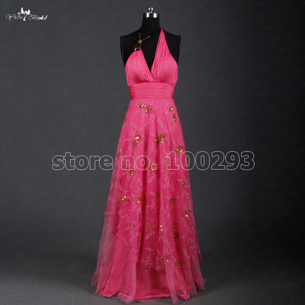 TE031 Halter   Evening     Dress   Beautiful Slik Chiffon Pink Color With Gold Sequins Long Prom   Dress