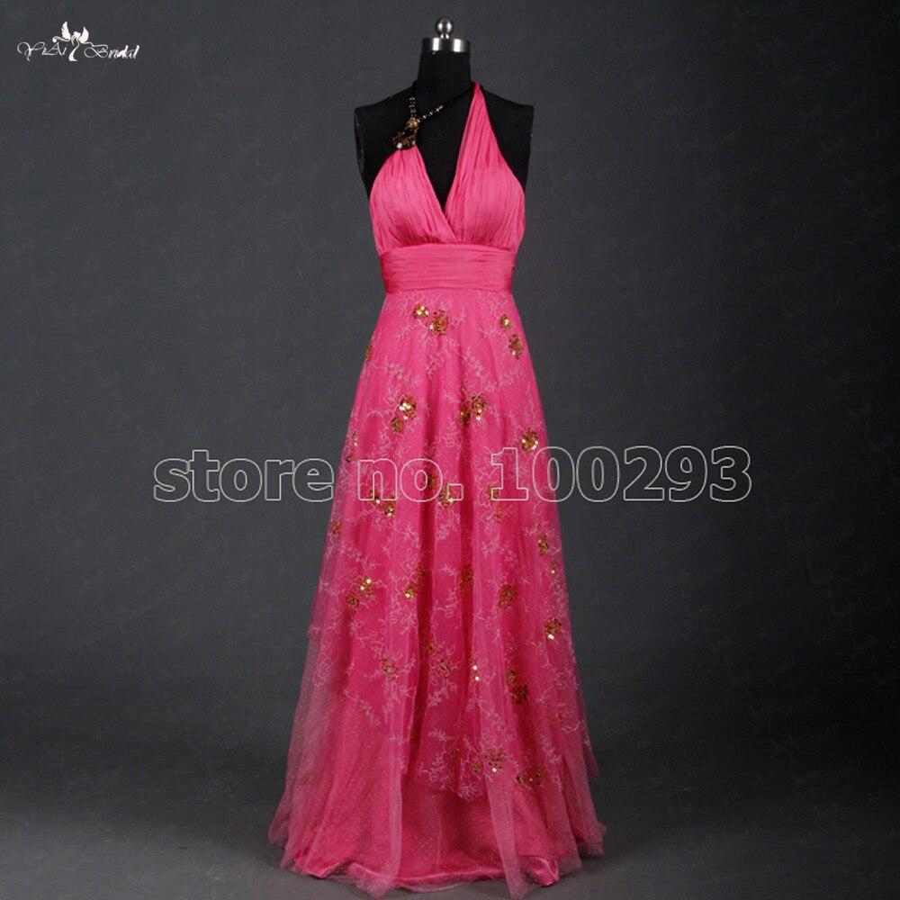 TE031 Halter   Evening     Dress   Beautiful Slik Chiffon Pink Color With Gold Sequins Long Prom   Dress