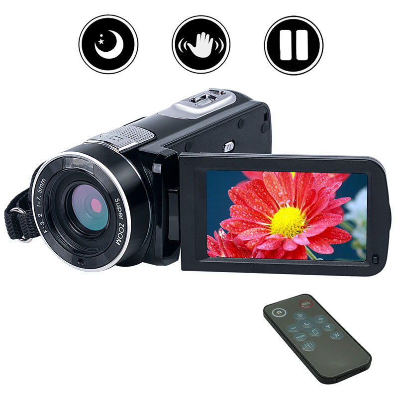 New 24MP Photo Digital Video Camera Full HD 1080P Camcorder Supporting Night Vision and Pause Function with Remote Controller