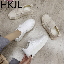 HKJL Little white shoes women spring 2019 new Velcro breathable Korean version of joker school thick-soled casual A577