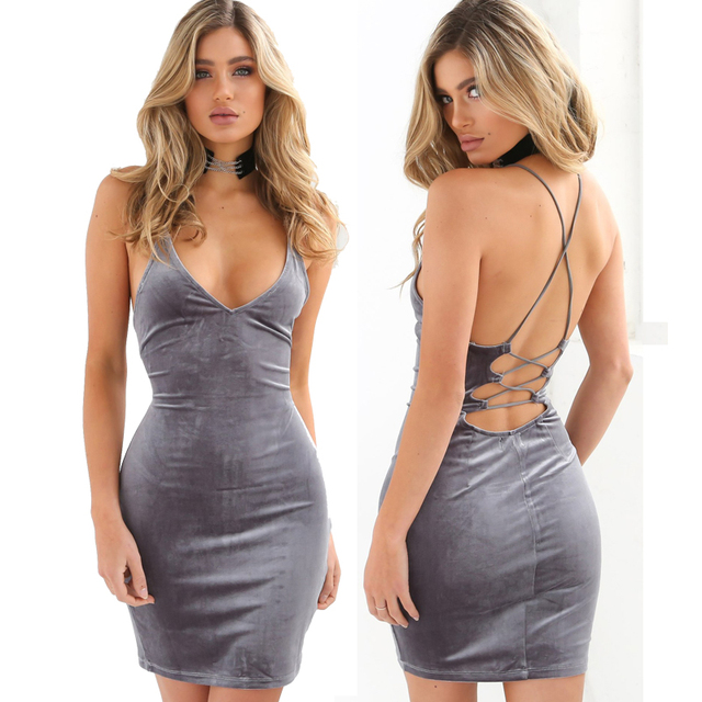 264435f984c5 Sexy Deep V Neck Back Lace Up Women Strap Velvet Dress Slim Sleevelss  Backless Bandage Bodycon