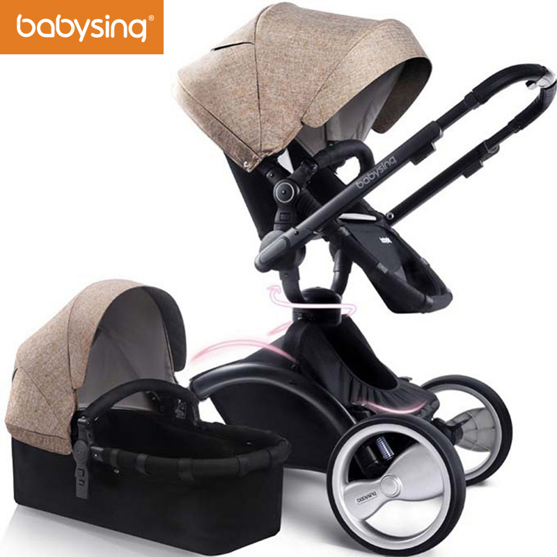 babysing 2 in 1 Stroller Reversible Seat/Push Handle Luxury Baby Stroller Folding Shockproof Baby Pram 360 Rotation Pushchair