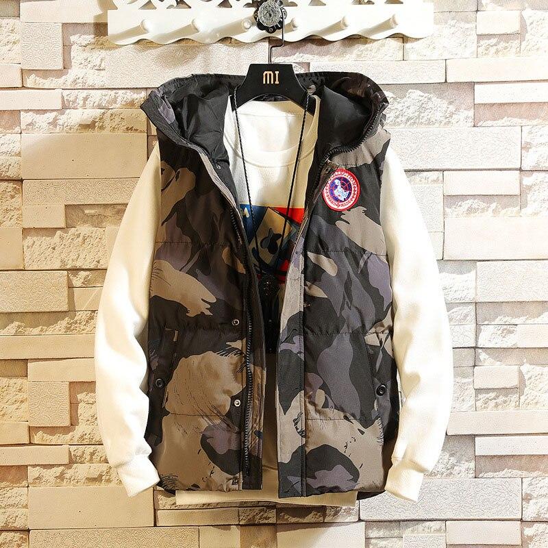 Camo Gilet Pour Hommes Automne Hiver Veste Sans Manches décontracté sweats à capuche slim 2019 Gilet chaud Nouvelle offre spéciale Streetwear Camouflage Gilets