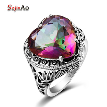 Szjinao 925 Sterling Silver Vintage Jewelry For Women Alluring Charms Heart 6.7ct Rainbow Mystic Topazl Wedding Rings