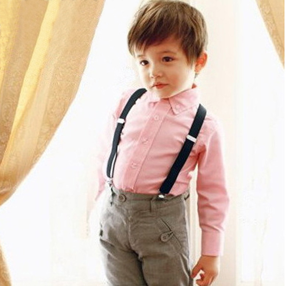 Cute Baby Boys Girl Clip On Suspender Y Back Child Elastic Suspenders Braces Boy's T-shirts Belt