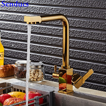 Senducs Healthy Gold Kitchen Filter Mixer Tap Luxury Home Clean Water Faucet Quality Brass Gold Kitchen Sink Mixer Faucet