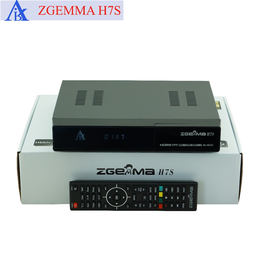 10 pcs/lot zgemma h7s 4k ultra satellite receiver twin tuner dvb s2x/s2 + dvb c & dvb t2 support multi-stream and ci plus azbox premium hd plus twin tuner receiver 2 dvb s2 tuner
