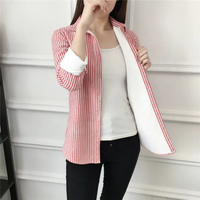 Dioufond New Casual Style Plus Size Women Clothing Striped None Decoration Turn Down Collar Top Women Clothing 2018