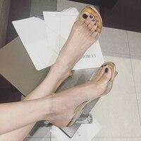 1fcb278447 Sandals Women Summer Transparent Crystal Sandals Round Heel Womans  Waterproof Fashion Sandales Lady High Heels Clear