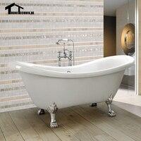 UK Shipping 1760mm Freestanding Bath Tub Double Ended Roll Top Slipper Bathtub White Luxury Bathtub Cast