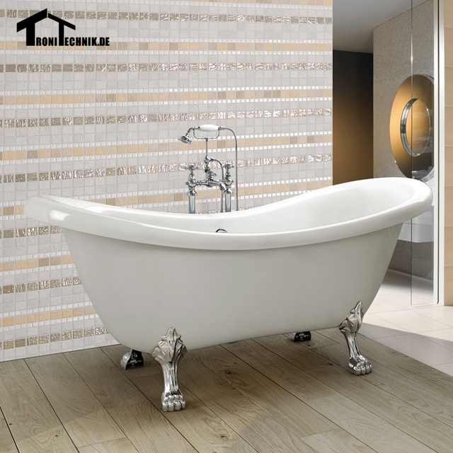 1600mm freestanding slipper bath tub double ended roll top for Best freestanding tub material