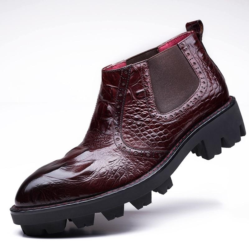 Mycolen Fond Cheville Crocodile Véritable vin Cuir Hiver Rouge Travail Chaussures En Noir Casual Militaires Bottes Hommes Épais De Motif 67YgvIbfy
